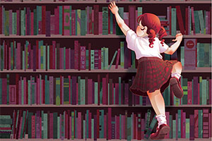 Illustration of Girl climbing books